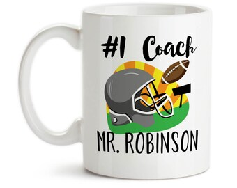 Coffee Mug, Number One #1 Sports Best Football Coach Gift Name Personalized Monogram, Gift Idea, Large Coffee Cup