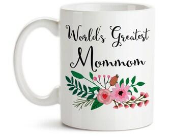 Coffee Mug, World's Greatest Mommom, Family Grandma Grandparent Granddaughter Grandson Birthday Christmas, Gift Idea, Large Coffee Cup