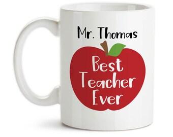 Coffee Mug, Personalized Best Teacher Ever Teachers Name Red Apple School Gift Gift For Teacher Favorite Teacher, Gift Idea