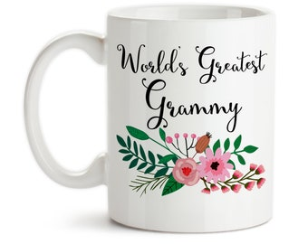 Coffee Mug, World's Greatest Grammy, Family Grandma Grandparent Granddaughter Grandson Birthday Christmas, Gift Idea, Large Coffee Cup