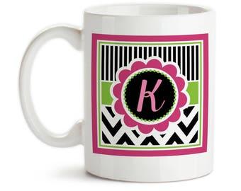 Coffee Mug, Personalized Chic Chevron, 002, Monogram Initial, Pink Lime Black White, Gift Idea