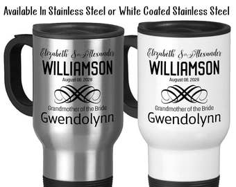Travel Mug, Personalized Wedding Party With Bride and Groom Date Est, Bridesmaid, Groomsman, & More, Stainless Steel, 14 oz - Gift Idea