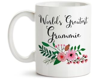 Coffee Mug, World's Greatest Grammie, Family Grandma Grandparent Granddaughter Grandson Birthday Christmas, Gift Idea, Large Coffee Cup