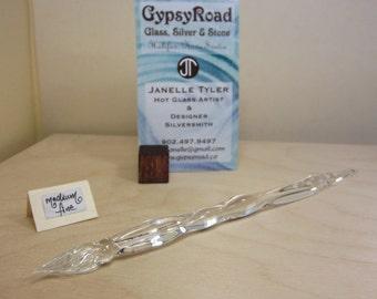 Medium Fine Tip Glass Dip Pen -- Clear Decorative Handle -- GypsyRoad Glass Pen by Artisan Janelle Tyler (05001)