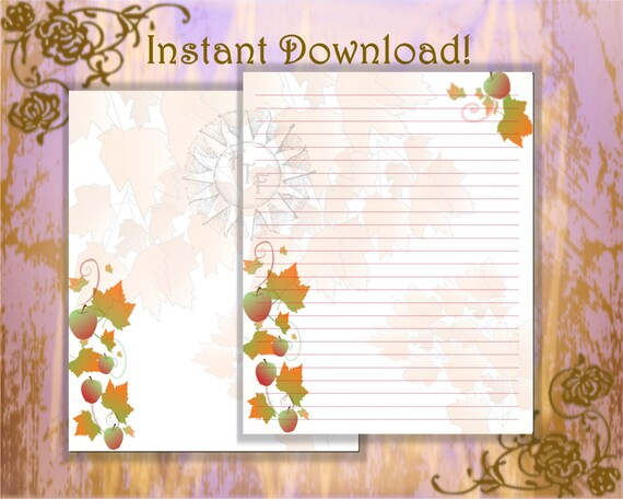 autumn theme stationery page green stationery blue etsy
