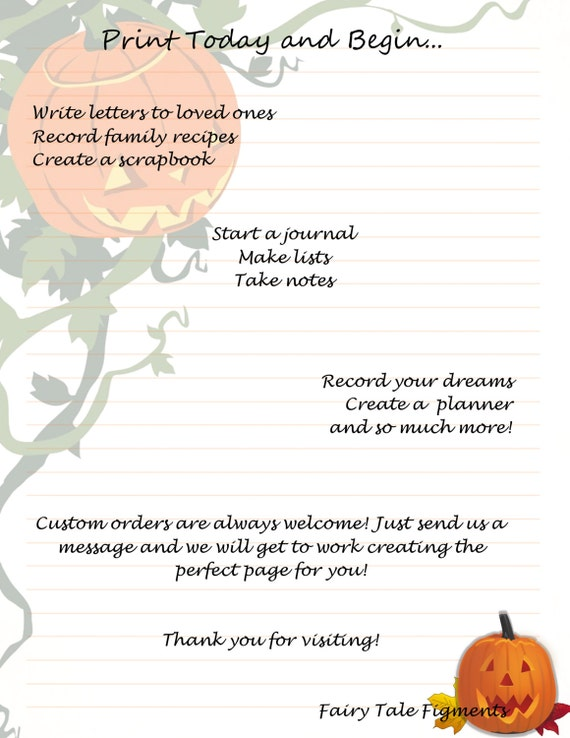 Jack o\' Lantern Stationery Pumpkin Stationery Halloween | Etsy