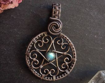 Hearts Pentacle pendant, wire wrap, copper pendant, silver pendant, pentagram pendant, silver jewelry, copper jewelry, pagan wiccan jewelry