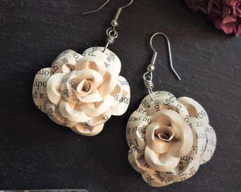 Upcycled Book Lover's Ivory Rose Dangle Earrings, wedding jewelry, bridesmaid jewelry, English major, literary jewelry, teacher gift