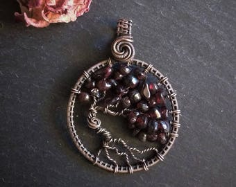 Tree of Life pendant in Copper and gemstones