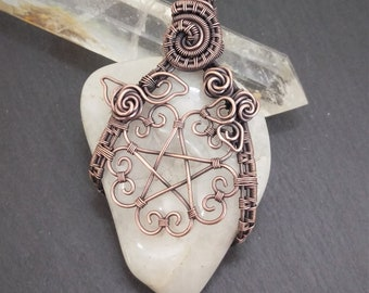 Hearts Pentacle amulet, wire wrap, moonstone, roses, copper rose, pentagram pendant, rose pendant, copper jewelry, pagan wiccan jewelry