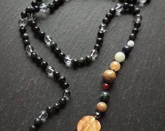 Solar System convertible wrap necklace bracelet, wrap bracelet, gemstone bracelet, solar system jewelry, yoga jewelry meditation, mala beads