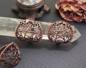Copper Hearts Pentacle Ring