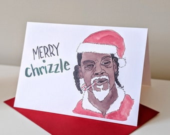 Snoop Dogg Smoking Candy Cane - Merry Chrizzle Christmas Holiday Card