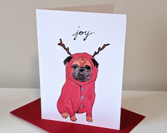 Joy Pug Christmas Holiday Card in Onesie and Antlers Funny