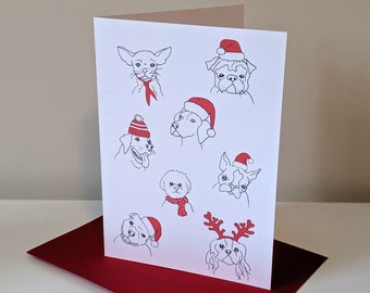 """Christmas Dogs Holiday Card - 5x7"""" with Envelope"""