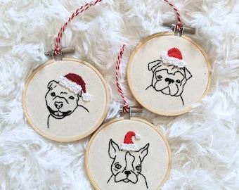 Embroidered Dog ChristmasTree Ornament - bulldog, weimaraner, boston terrier, pitbull, bichon, retriever, spaniel, chihuahua,