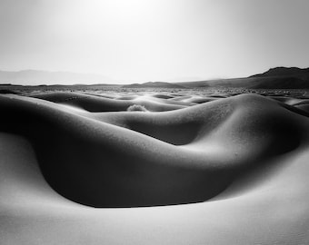 Lady of the Desert - Black and White Fine Art Landscape Photography Print. Mesquite Dunes in Death Valley National Park