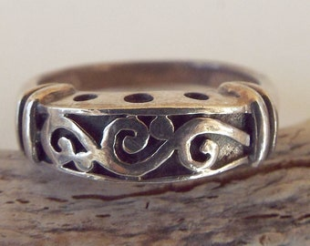 Vintage Sterling Silver 925 Scroll Band Ring Size 6.5