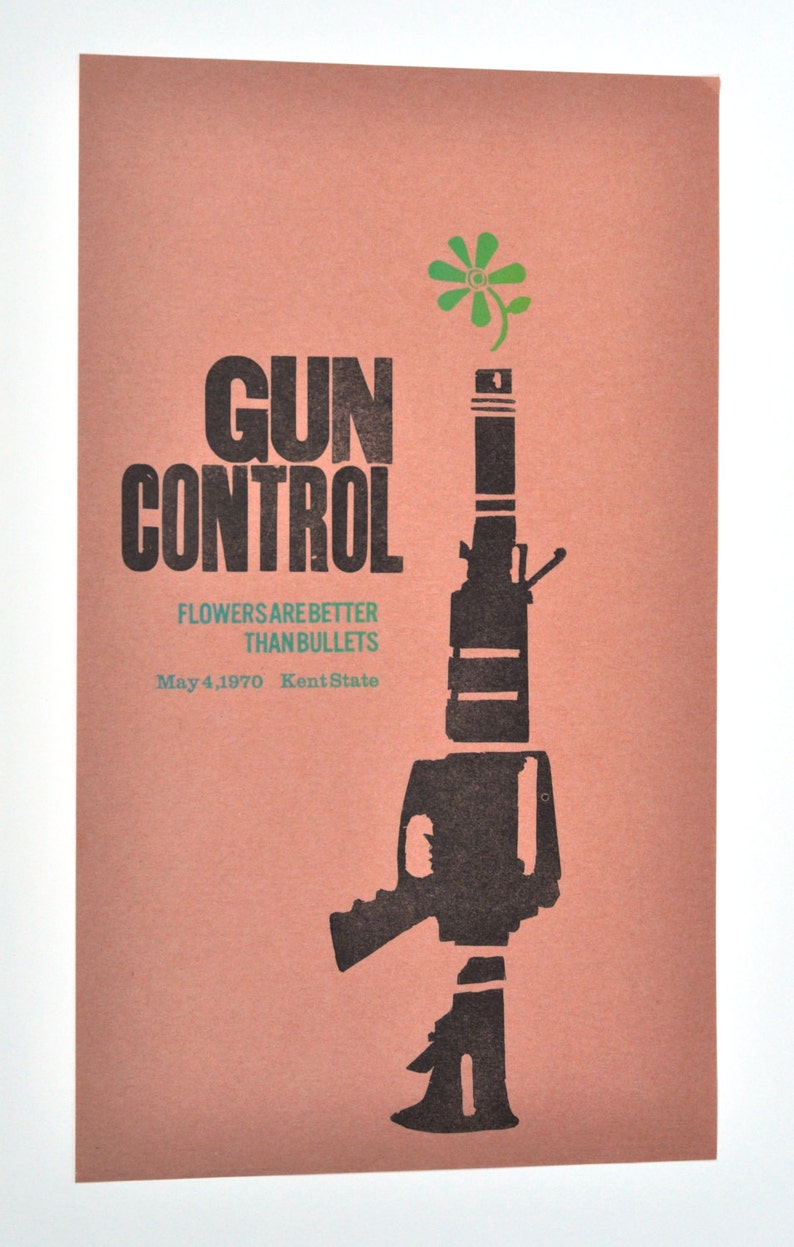 Letterpress on japanese wood block paper Gun Control Poster Flowers are better than bullets