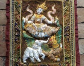 Burmese Hand Stitched Beaded Kalaga Tapestry