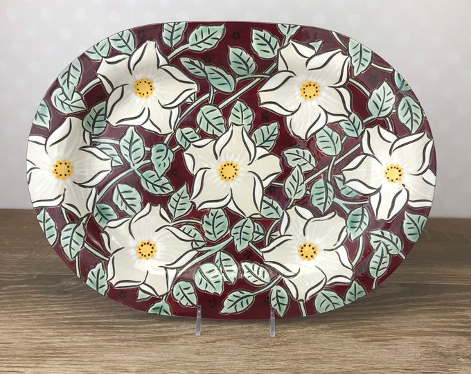 Featured listing image: Maroon Ovoid Serving Platter with Vining White Roses