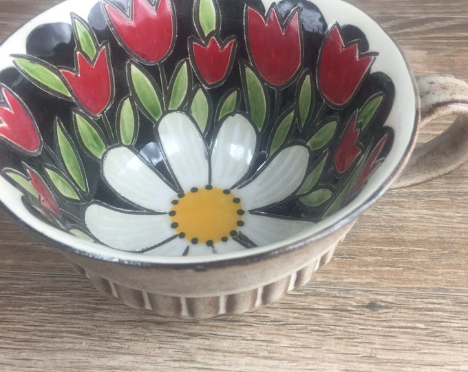 Featured listing image: Red Tulips and Daisy Soup Bowl Mug