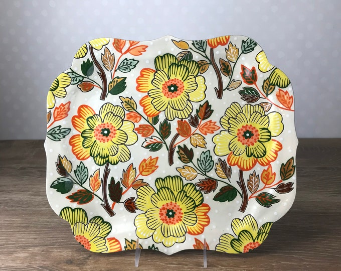 Featured listing image: Large  Serving Platter with Yellow Flowers
