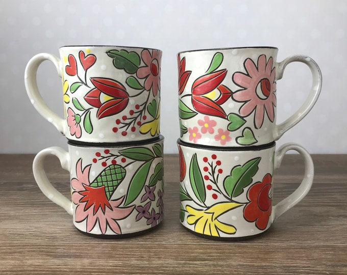 Featured listing image: Mug with Red, Pink and Yellow Vintage Floral Band