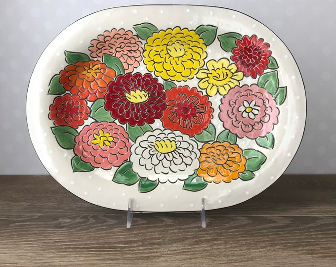 Featured listing image: Ovoid Serving Platter with Zinnias
