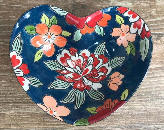 Featured listing image: Teal Blue Heart Shaped Serving Bowl