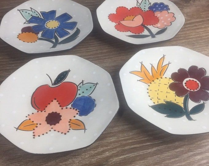 Featured listing image: Set of 4 Ceramic Snack Plates with Fruit