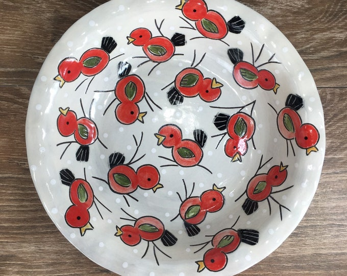 Featured listing image: Pie Plate with Red Birds