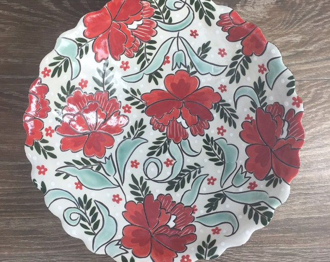 Featured listing image: Large Serving Bowl with Red Carnations