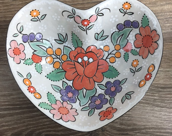 Featured listing image: Heart Shaped Serving Bowl with Vibrant Pastel Floral