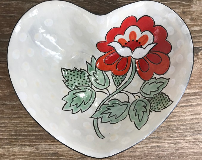 Featured listing image: Heart Shaped Serving Bowl with Red Tango Flower and White Dots