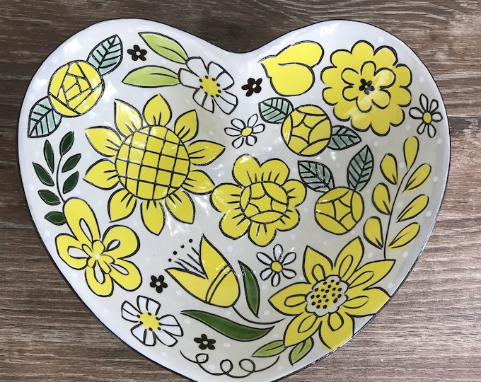 Featured listing image: Heart Shaped Serving Bowl with Yellow Floral