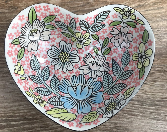 Featured listing image: Heart Shaped Serving Bowl with Pink Floral and Vine