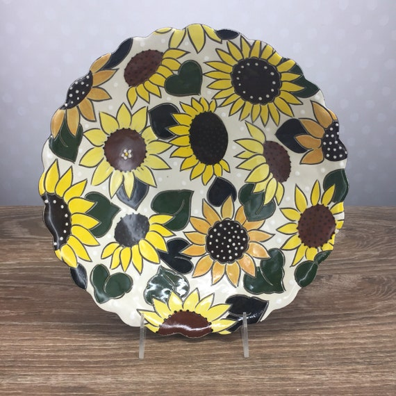 Handmade Bubble Serving Bowl With Sunflowers Colleen Mc Call Ceramics Handpainted Pottery Colorful Stoneware by Etsy