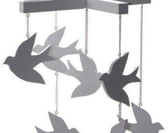 Grey (Gray) Bird Mobile - Bird Nursery Mobile