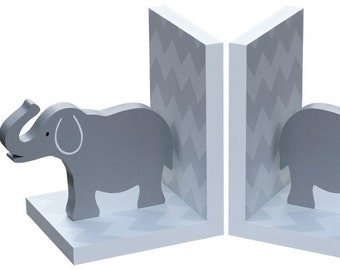 Wooden Chevron Elephant Bookends in Grey / Gray
