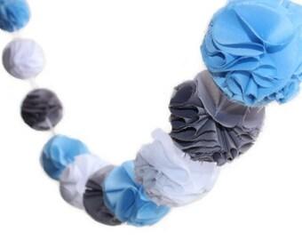 Blue, White and Grey (Gray) Pom Pom Garland with Fabric Poms
