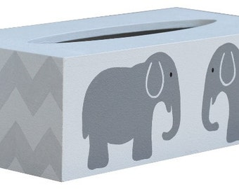 Chevron Elephant Tissue Box Cover