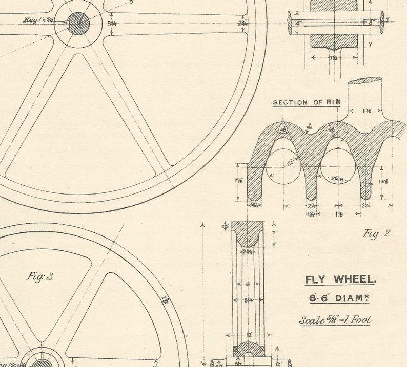 Machine Drawing Pulley 1930s Vintage industrial Print Engineering Drawings blueprint Art Plan Gift Home