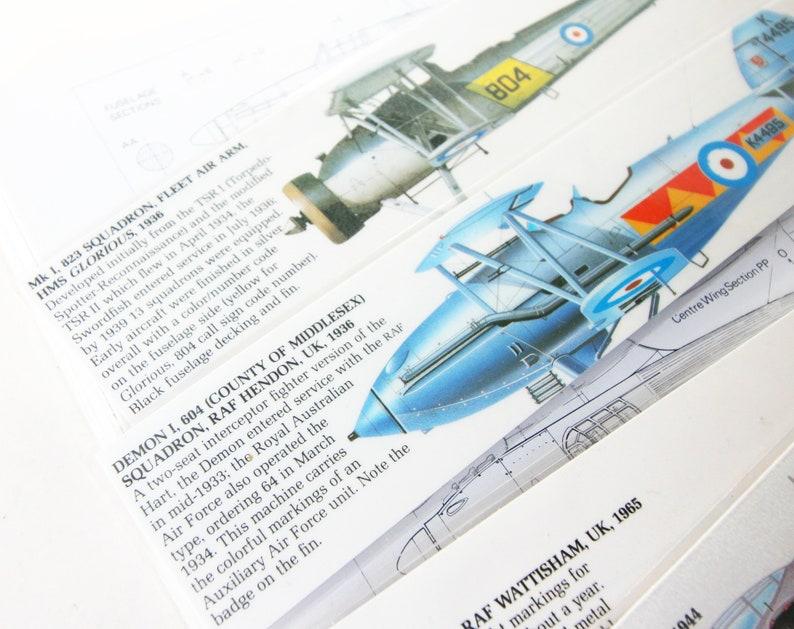 Aviation Bookmark Packs x5 Aviation RAF Wartime Vintage Aircraft Gift