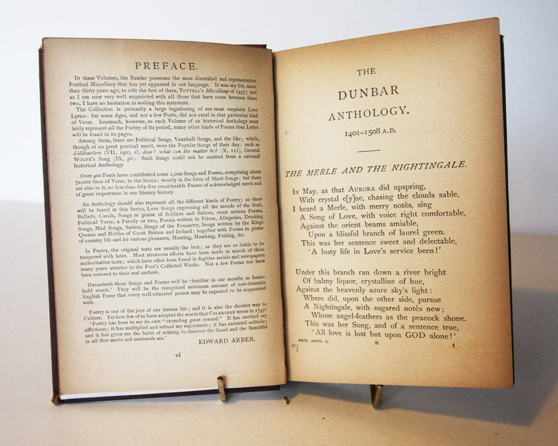 Antique Poetry Book The Dunbar Anthology 1401 - 1508 Poetical Works 1901  Poetry Book Vintage, gift, collectibles, Poet