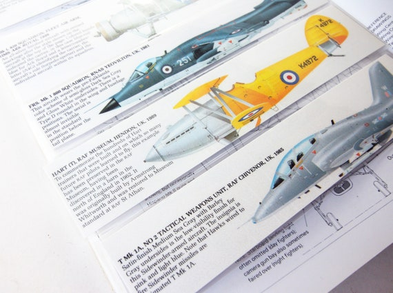 Bookmark RAF Aircraft Pack x5 Aviation Jet age Wartime Vintage Aircraft  Gift Militaria