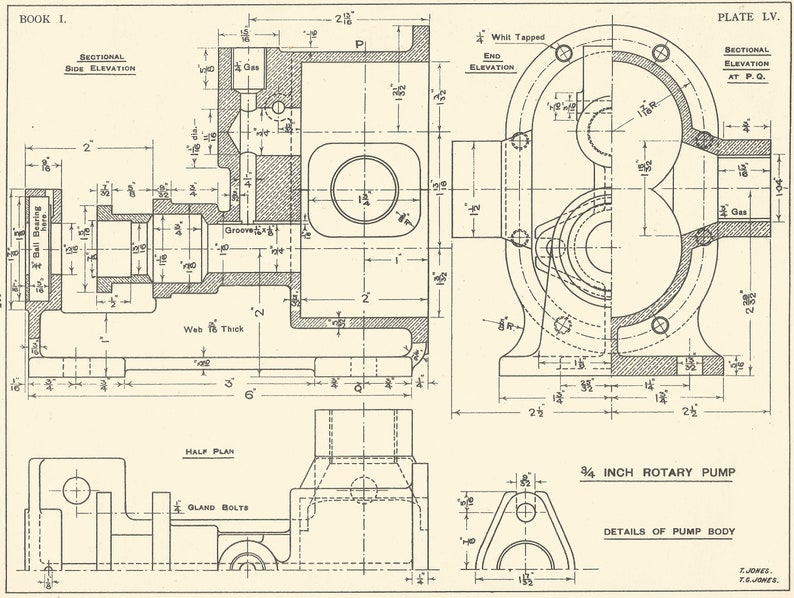 Machine Drawing pump Section 1930s Vintage industrial Print Engineering  Drawings blueprint Art Plan Gift Home