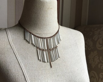 Glass Bugle Bead Bohemian Fringe Necklace in Silver Starlight