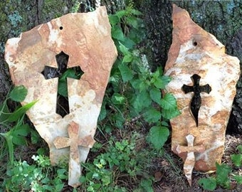 Cross carved cut out flagstone, naturally shaped stone, religious unique cross, abstract, garden, patio, church, Christian art outdoor cross