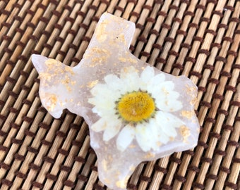 Tiny Texas refrigerator magnet on desert rose selenite gypsum stone with pressed wildflowers and gold flakes